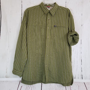 The North Face Button Up Sz XL Green Black Striped